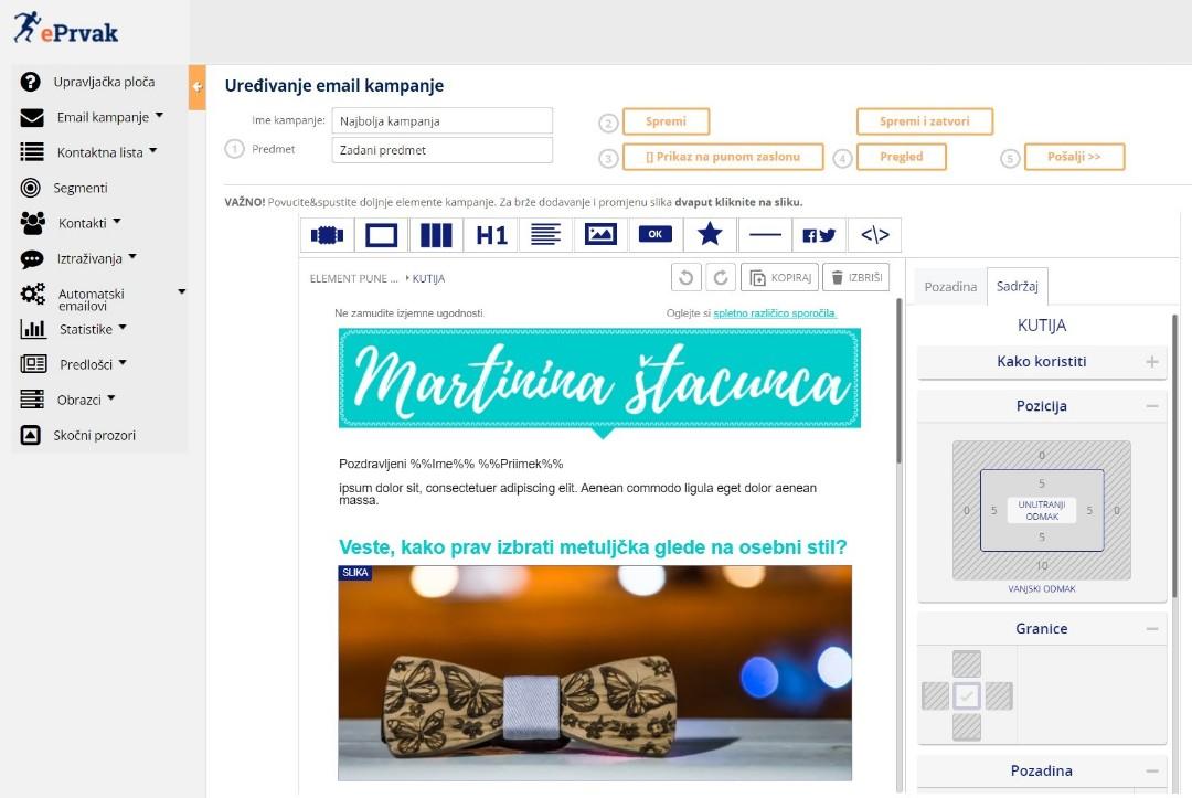 email marketing sustav
